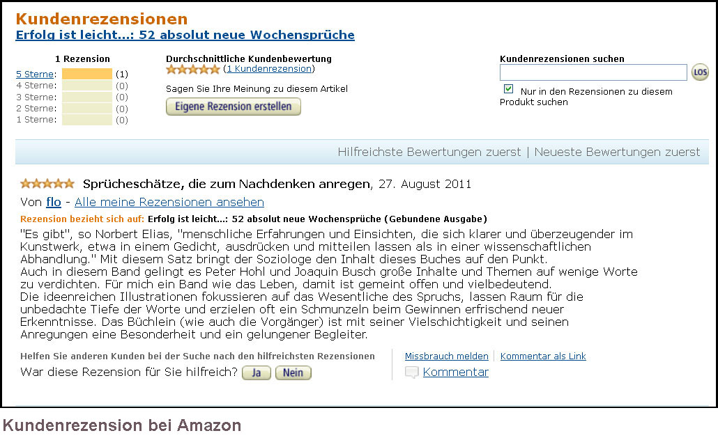 Kundenrezension bei Amazon